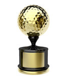 Gold trophy with golf ball Royalty Free Stock Photo