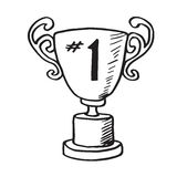 Gold Trophy Hand Drawn Vector Doodle Illustration for the First Winner Stock Images