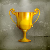 Gold trophy, old-style. Computer illustration on gray background vector illustration