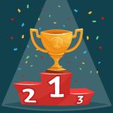 Gold trophy prize cup on podium  illustration in cartoon style Stock Photography