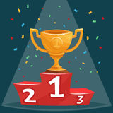 Gold trophy prize cup on podium vector illustration in cartoon style. Golden cup for champion, sport pedestal with gold cup Royalty Free Stock Image