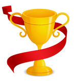 Gold trophy with red ribbon. Illustration of a trophy with golden gradients and a red ribbon wrapped around it... The ribbon is positioned for easier royalty free illustration