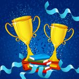 Gold Trophy with Ribbon Stock Images