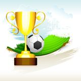 Gold Trophyl on Soccer Pitch Stock Photo