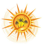 Gold tropical sun logo. Design Royalty Free Stock Photo
