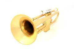 Gold trumpet Royalty Free Stock Images