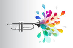 Gold trumpet with abstract colorful flowers Royalty Free Stock Image
