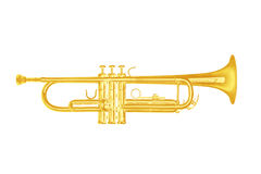 Gold trumpet instrument on white background. Royalty Free Stock Images