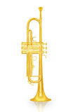 Gold trumpet instrument on white background Stock Images