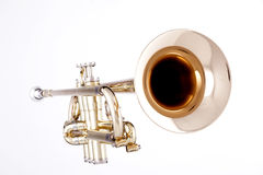 Gold Trumpet Isolated On White. A professional gold trumpet isolated against a white background in the horizontal format Royalty Free Stock Image