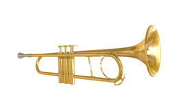 Gold Trumpet Isolated Royalty Free Stock Photo