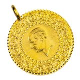 1/4 Gold. 1/4 Turkish Gold coin necklace. (Back) Isolated on white background Royalty Free Stock Images