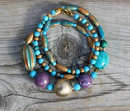 Gold and turquoise necklace Royalty Free Stock Image