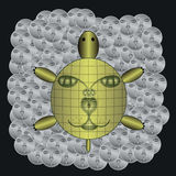 Gold turtle on silver coins. Vector Stock Image