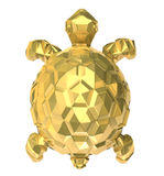 Gold turtle on white. 3D image Stock Image