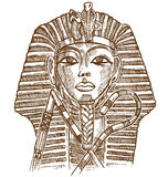 Gold tutankhamon mask. Hand drawn profilo front Royalty Free Stock Photo