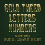 Gold tweed letters, numbers, dollar and euro currency signs, exclamation and question marks.  stock illustration