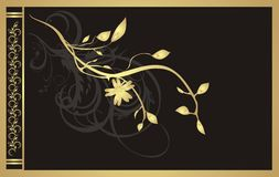Gold twig. Floral ornament for decor of card Stock Image
