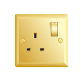 Gold UK socket Stock Photography