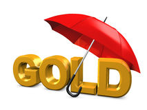 Gold umbrella Stock Photo