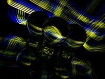 Gold und blaues Plaid-Muster im Hintergrund und im reflektierten ZThrough das Lensballs lizenzfreie stockfotos