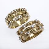 Gold- und Diamantringe Lizenzfreies Stockbild