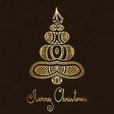 Gold- und fröhlicher Weihnachtsbaum Braunpaisleys lizenzfreie abbildung