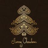 Gold- und fröhlicher Weihnachtsbaum Braunpaisleys vektor abbildung
