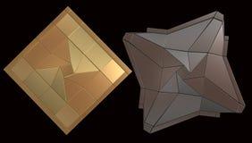 Gold und Gray Shield lokalisiert auf schwarzem Hintergrund Stockfoto