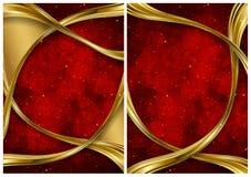 Gold und rote abstrakte Hintergründe Stockfotografie