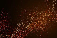 Gold und rotes Funkelnpulver spritzen Vektorhintergrund Goldenes zerstreutes magisches Nebelglühen des Staubes Stilvolles Modesch Stockbilder