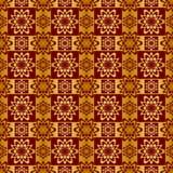 Gold und rotes metallisches regelmäßiges nahtloses Muster Lizenzfreies Stockfoto