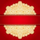 Gold und rotes rundes Verzierungseinladungsmuster Lizenzfreies Stockfoto