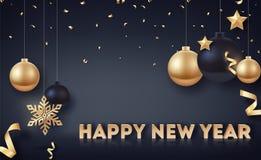 Gold und schwarze Weihnachtsbälle mit Goldsternen und großer goldener Schneeflocke Stockfotografie