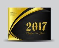 Gold und Schwarzes bedecken Tischkalender 2017, guten Rutsch ins Neue Jahr 2017 lizenzfreie abbildung