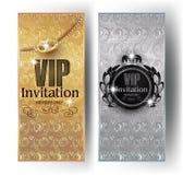 Gold- und Silber Promi-Einladungskarten mit Blumenmusterhintergrund, Kronen und Weinleserahmen vektor abbildung