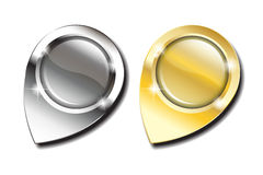 Gold- und Silberkartenstifte Lizenzfreie Stockfotos