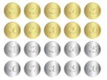 Gold-und Silbermünzen Stockbild