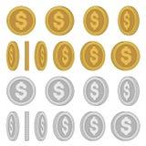 Gold-und Silbermünzen mit den verschiedenen Rotations-Winkeln eingestellt Vektor Lizenzfreie Stockfotografie