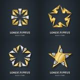 Gold- und Silbersternlogosatz Ikone des Preises 3d Metallisches Firmenzeichen Stockfotografie