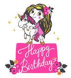 Gold Unicorn Illustration. Girl with gold glitter hair and pink unicorn isolated on white background. Happy Birthday greeting card. Vector illustration Royalty Free Stock Photography