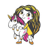 Gold Unicorn Illustration. Girl with gold glitter hair and pink unicorn isolated on white background. Vector illustration Royalty Free Stock Photo