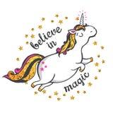 Gold Unicorn Illustration. Gold glitter unicorn isolated on white background. Believe in magic. Vector illustration Royalty Free Stock Photo