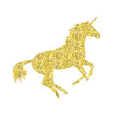 Gold Unicorn mythical horse. In silhouette standing on hind legs Stock Image