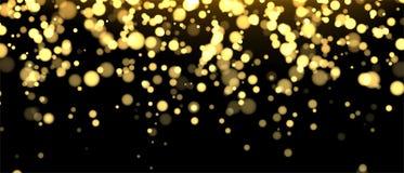 Gold unscharfe Fahne auf schwarzem Hintergrund Funkelnder fallender Konfettihintergrund Goldene Schimmerbeschaffenheit für Luxuse vektor abbildung
