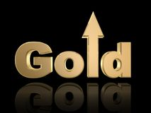 Gold up. Gold rise in value isolated on dark background Royalty Free Stock Image
