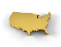 Gold USA-Karte 3D mit Beschneidungspfad Lizenzfreies Stockfoto