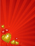 Gold valentine disco hearts Royalty Free Stock Images