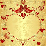 Gold valentine frame Stock Photos