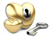 Gold valentine heart  with a keyhole and key. Royalty Free Stock Photos
